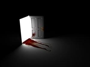 Behind the bloody door