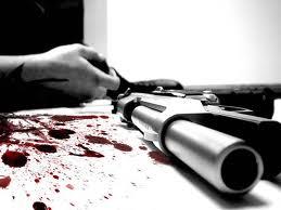 Gunshot blood suicide